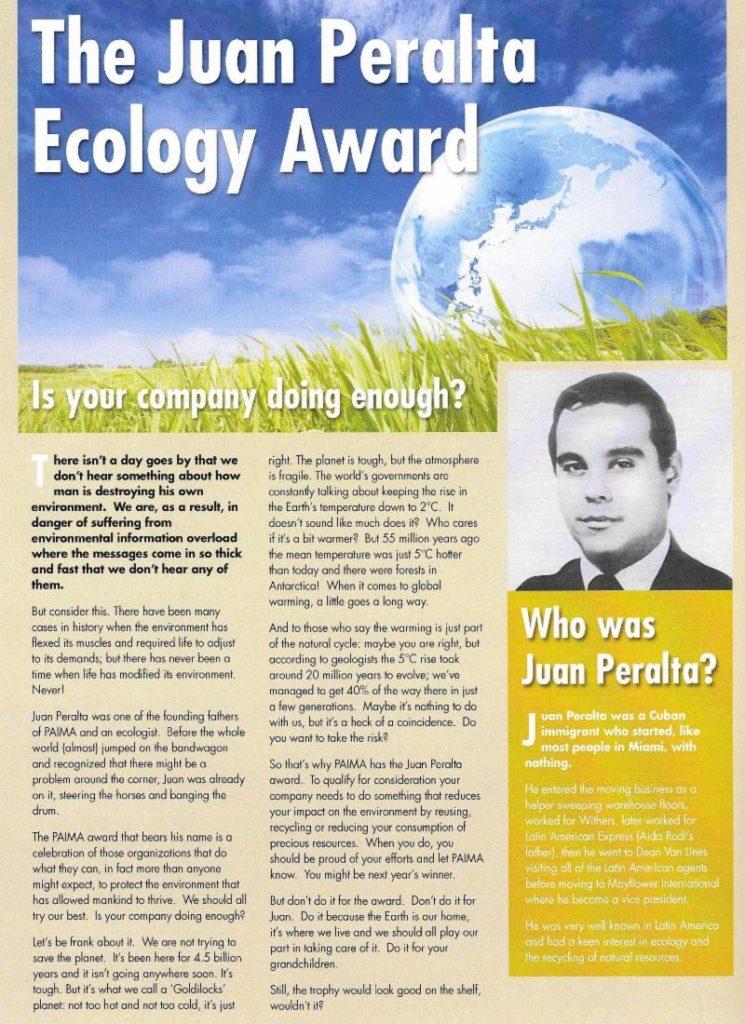 """2001 Prix d'ecologie """"Juan Peralta Ecology Award"""""""